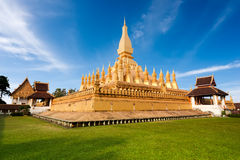 Golden buddhist pagoda of Phra That Luang Temple. Laos Royalty Free Stock Photo