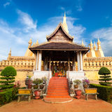 Golden buddhist pagoda of Phra That Luang Temple. Vientiane, Laos Royalty Free Stock Photos