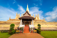 Golden buddhist pagoda of Phra That Luang Temple. Vientiane, Laos Stock Images