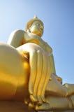 Golden Buddhist sculpture in Thailand. Big golden Buddhist sculpture at Wat Muang, Aungtong, Thailand Stock Image