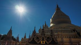 Golden buddhist stupa on the top of the Mount Popa Taung Kalat in Myanmar. Stock Photography