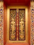 Golden Buddhist temple window Stock Image