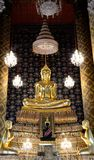 Golden budha sculpture in Thai temple. It look beautiful and luxury Royalty Free Stock Photo