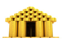 Golden building. Front view. On white vector illustration