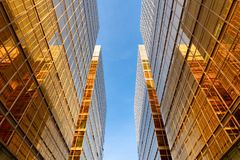 Free Golden Building. Windows Glass Of Modern Office Skyscrapers In Technology And Business Concept. Facade Design. Construction Royalty Free Stock Photography - 159168047