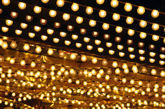 Golden bulbs marquee. Lines of golden lights adorn a vegas marquee stock photography