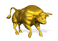 Golden Bull. 3d render depicting a golden bull, isolated on white Royalty Free Stock Images