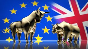 Golden bull and bear with flags of Europe and England - concept brexit royalty free illustration