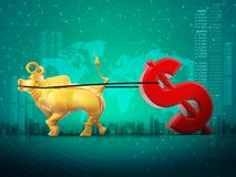 Golden bull dragging dollar symbol, business finance, profit growth, increase concept,  3D rendering aqua green background vector illustration