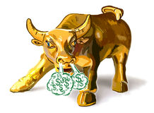 Golden Bull. Illustration of Charging Golden Bull with steam coming out of his nostrils Stock Photography