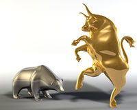 Golden bull and metal bear. Digital 3d illustration of two statues representing a rampant golden bull and a bowed down bear vector illustration