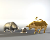 Golden bull and metal bear. Walking around a marble temple vector illustration