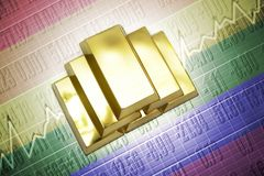 Golden bullions lie on a gay flag background Stock Images