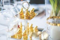 Golden Bunnies on the Tray Royalty Free Stock Photos