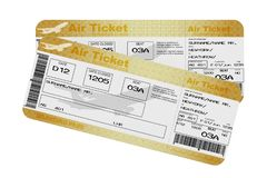 Golden Business or First Class Airline Boarding Pass Fly Air Tickets. 3d Rendering. Golden Business or First Class Airline Boarding Pass Fly Air Tickets on a vector illustration