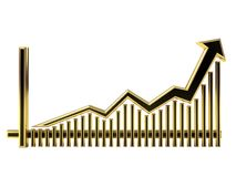 Golden Business Graph with arrow up Royalty Free Stock Image