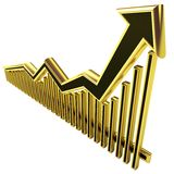 Golden Business Graph with arrow up. Golden Business Graph with arrow rising up and bars Royalty Free Stock Photo