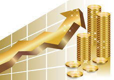 Golden business graph with stack of coins. Golden business graph with arrow pointing up and a stack of golden coins showing profit and gain in a successful Royalty Free Stock Photos