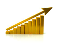 Golden business growth chart Royalty Free Stock Images