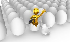 The golden businessman was born from egg. 3d rendered illustration Royalty Free Stock Images