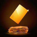 Golden bussines card on black background Stock Image