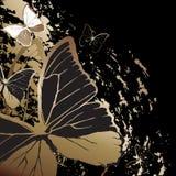 Golden butterflies background. Golden butterflies in front of abstract background Stock Photos