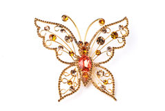 Golden butterfly. The Golden butterfly idolated on white Stock Photo