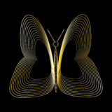 Golden butterfly on black background. Vector illustration Royalty Free Stock Photo