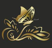 Golden butterfly in flight Stock Photo
