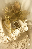 Golden Butterfly On Lace Stock Image