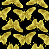 Golden Butterfly Seamless Pattern Royalty Free Stock Photography