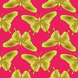 Golden Butterfly Seamless Pattern Stock Images
