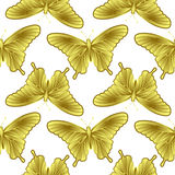 Golden Butterfly Seamless Pattern Stock Image