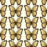 Golden butterfly seamless pattern. Luxury design, expensive jewelry. Stock Photography