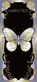 Golden butterfly on stylized frame Royalty Free Stock Image