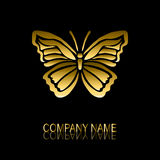 Golden butterfly symbol. Abstract golden butterfly sign/symbol, design element. Can be used for corporate identity, company emblem, jewelry shape, print, labels Royalty Free Stock Photo