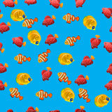 Golden Butterflyfish pattern. Very high quality original trendy vector seamless pattern with Golden Butterflyfish. Acanthurus leucosternon Royalty Free Stock Photography