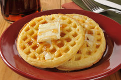 Golden buttery waffles Stock Photography