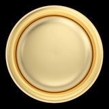 Golden button on black Stock Images
