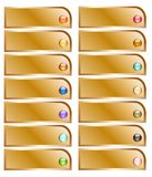 Golden button collection with colorful glossy spheres Stock Images