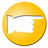 Golden button with hand stock image