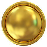 Golden Button isolated on white background Stock Image