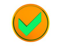 Golden button with tick Royalty Free Stock Image