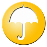 Golden button with umbrella Stock Photos