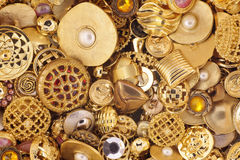 Golden Buttons. Various golden buttons for use as a background Royalty Free Stock Images