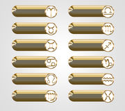 Golden buttons with the astrological signs of the zodiac. 3D Royalty Free Stock Photos