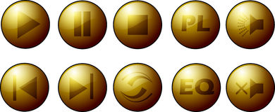 Golden buttons collection. Collection of golden buttons for music player stock illustration
