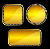 Golden buttons with gems. Set of elegant square black web buttons with gem stones Stock Photography