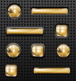 Golden buttons. Vector glossy golden buttons set on perforated background stock illustration