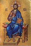 Golden Byzantine mosaic of Jesus Christ stock photos